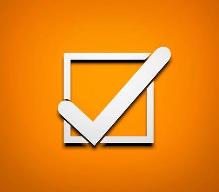 opportunity sign: Check mark. White check mark on orange background. 3d illustration