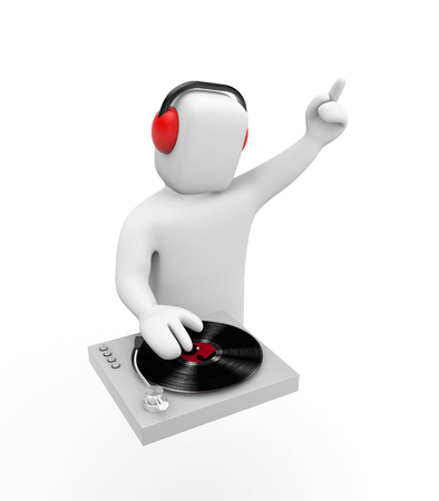 DJ at work on the party. Isolated on white. 3d illustration