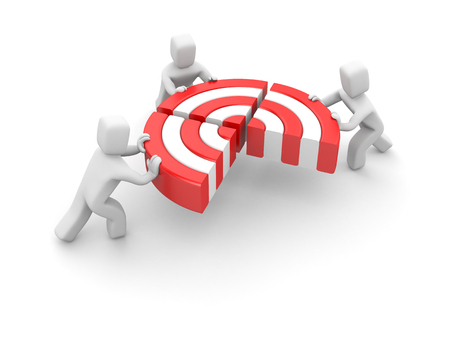 People pushing target piece part to connect into one. Team success. Reach goal. 3d illustration.