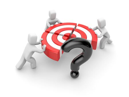 People pushing target piece part to connect into one. Instead of one part target is the question.Team success. Reach goal. 3d illustration. Stock Photo