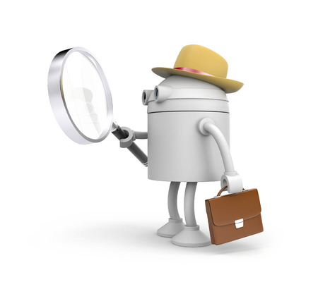 cybernetics: Robot detective. Robot holding and looks through magnify glass. 3d illustration