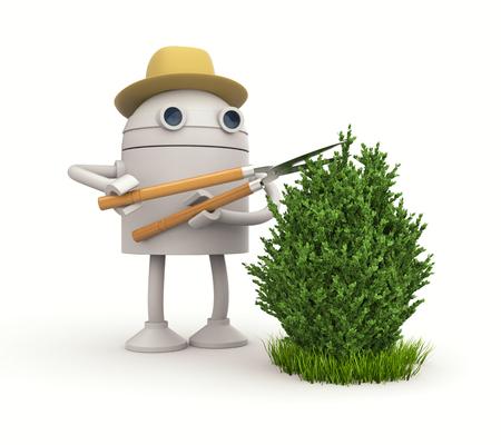 ロボットの庭師。ロボットは、ブッシュをカットします。3 d イラストレーション 写真素材
