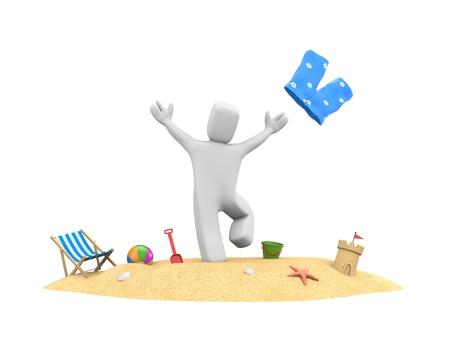 3d people on vacation - enjoy beach vacation. 3d illustration Stock Photo