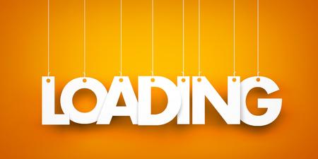 Loading. White word on orange background. 3d illustration Stock Photo