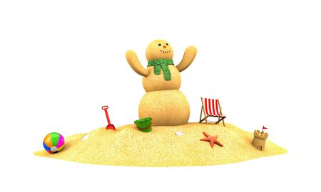 Snowman made from sand  . 3d illustration Фото со стока