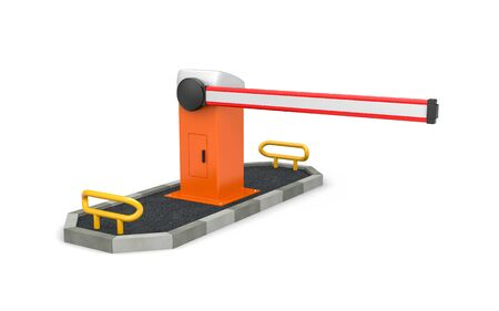The Barrier - Automatic system for security. Safety island. 3d illustration