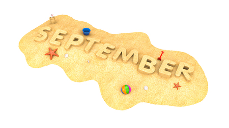 September - word from sand. 3d illustration Archivio Fotografico