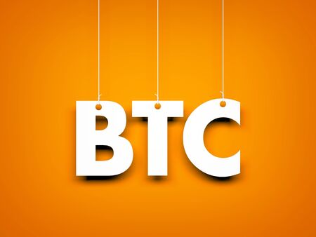 Word BTC - text hanging on the rope. 3d illustration Archivio Fotografico