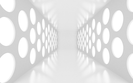 White room with round spots of lights. 3d rendered image