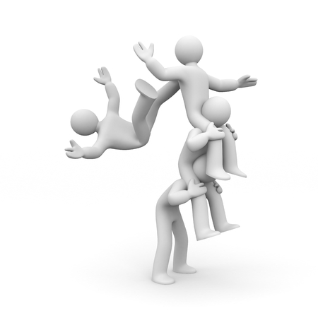 Falling of the team! 3d illustration Stock Photo