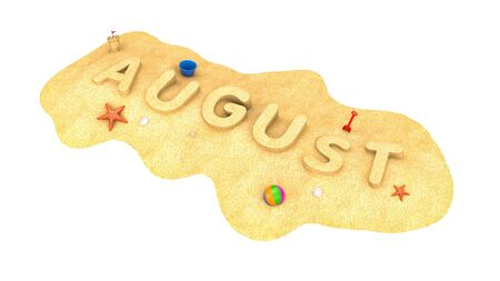August - word from sand. 3d illustration Stockfoto