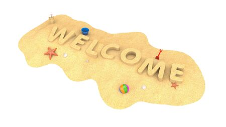 Welcome - word from sand. 3d illustration