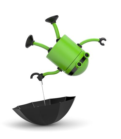 The robot with the umbrella! 3d illustration Stock Photo