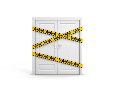 cordon: Closed door with yellow police tape and text: police line do not cross. 3d illustration