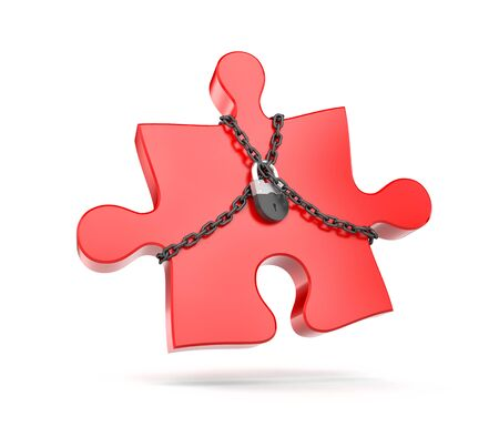 Red puzzle entangled chains and closed on padlock. 3d illustration