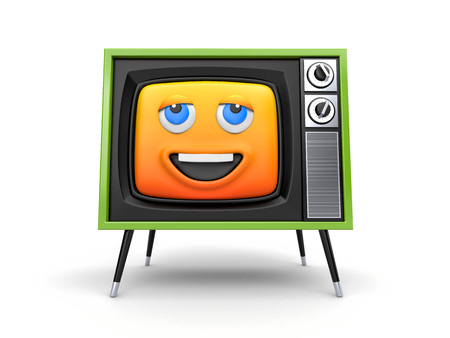 Cute TV with smiley face emoticon with thermometer. 3d illustration