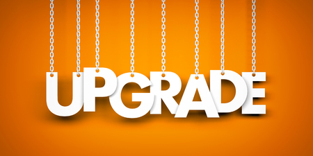 Upgrade - word hanging on chains. 3d illustration