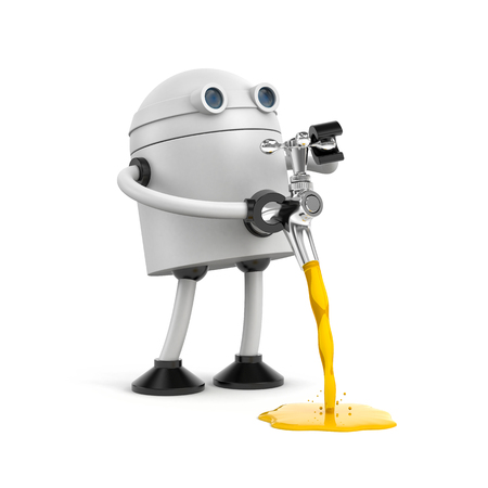 The robot pours through chrome plated faucet. 3d illustration