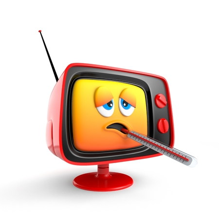 Cute sick TV emoticon with thermometer. 3d illustration
