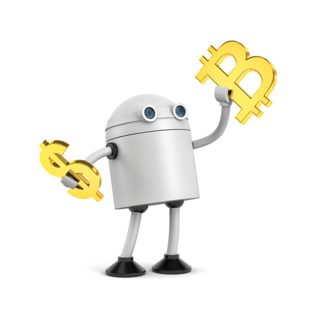 Robot hold bitcoin and dollar sign. Bitcoin VS dollar. 3d illustration