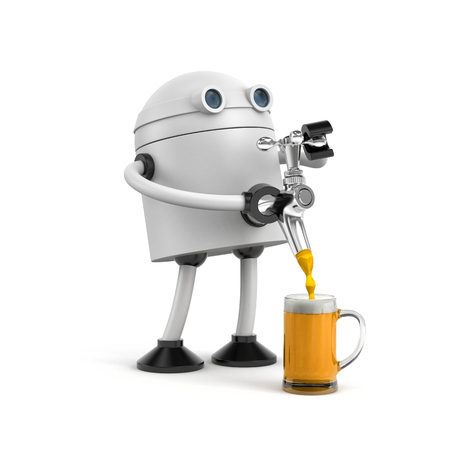 Robot barman pours beer from the tap beer. Bartender pouring the fresh beer in pub. 3d illustration