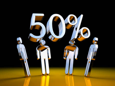 People with chrome digits. 50% SALE. 3d illustration