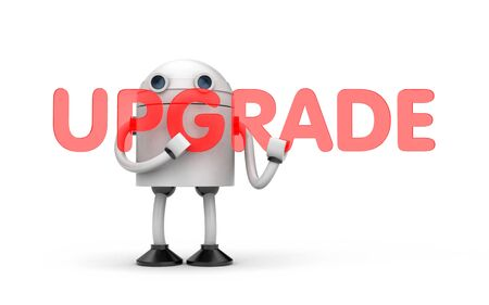 Robot needs an upgrade. 3d illustration Archivio Fotografico