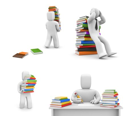People and books in different situations. 3d illustration
