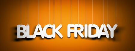 Black Friday - white words on orange background. 3d illustration