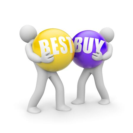 People with BESTBUY words balls. 3d illustration