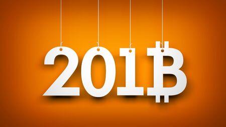 Bitcoin - symbol of Ney Year. New year illustration. 3d illustration