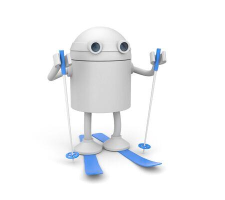 Robot is ready to ski Фото со стока