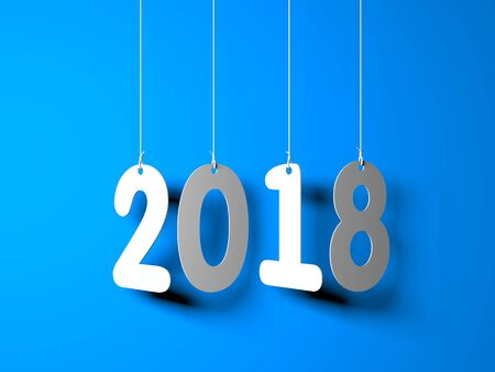 White word 2018 on blue background. New year illustration. 3d illustration Stockfoto