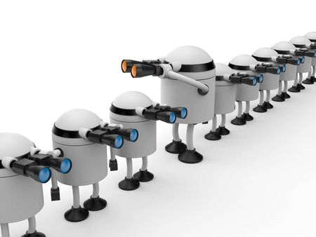 Different from other. Robot looks in binocular. 3d illustration Archivio Fotografico