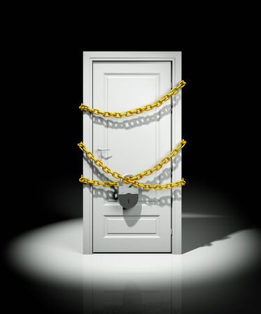 Door entangled chains closed on padlock. 3d illustration