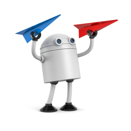 Robot with red and blue paper plane. 3d illustration