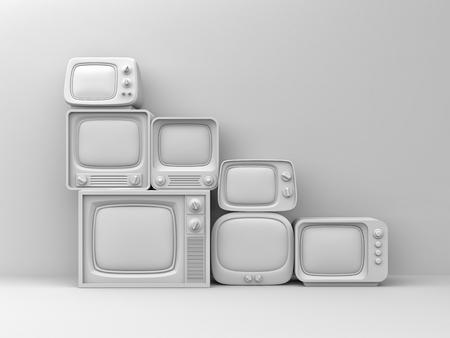 Pile of retro TV - white toned. 3d illustration Фото со стока