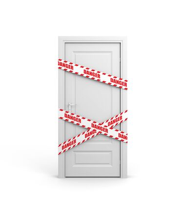 Closed door with police tape and text: DANGER. 3d illustration