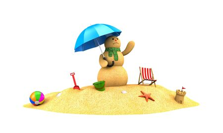 Snowman made of sand waiting for the rain. 3d illustration Фото со стока