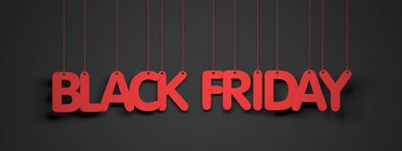 Black Friday - white words on red background. 3d illustration