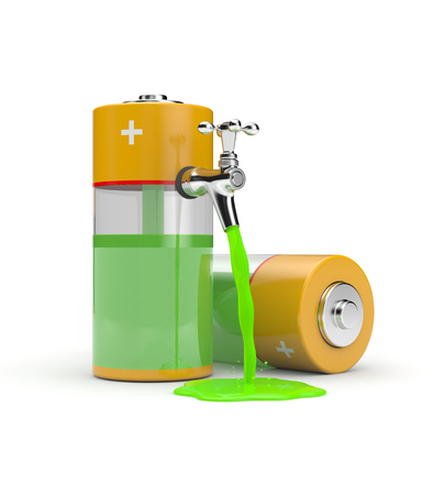 Battery with tap ang green energy. 3d illustration
