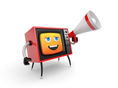 Cute TV with smiley face and megaphone. 3d illustration