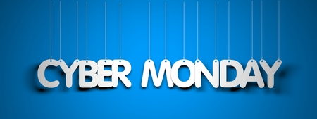 Cyber Monday - white words on teal background. 3d illustration