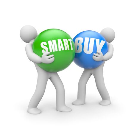 People with SMARTBUY words balls. 3d illustration