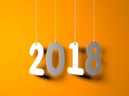 White word 2018 on orange background. New year illustration. 3d illustration