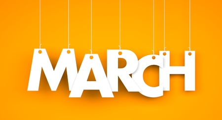 White word MARCH on orange background. New year illustration. 3d illustration Archivio Fotografico