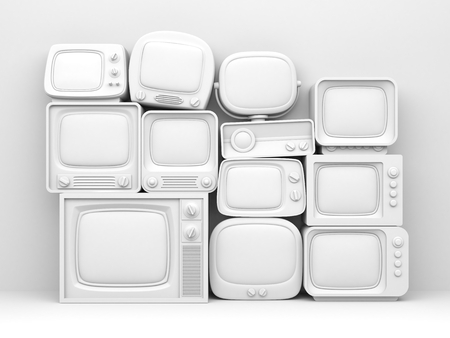 Pile of retro TV - white toned. 3d illustration Archivio Fotografico