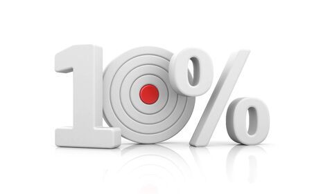 Target form the number 10 percent. Sale metaphors. 3d illustration