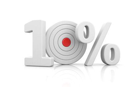 Target form the number 10 percent. Sale metaphors. 3d illustration