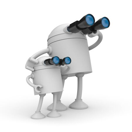 Robot looks in binocular. Maybe its a father and son. 3d illustration Фото со стока